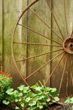 Closeup old wagon wheel Stock Photo