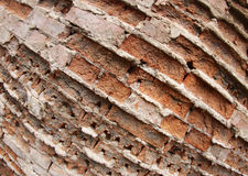 Closeup of the old wall of the destroyed bricks Royalty Free Stock Images