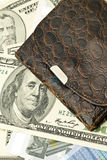 Closeup of Old wallet, US dollar banknotes Stock Photos