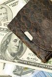 Closeup of Old wallet, US dollar banknotes Stock Photos