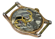 Closeup of old watch mechanism. A closeup view of the internal gears and mechanism of a wristwatch Royalty Free Stock Photos