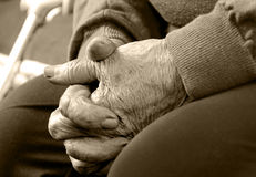 Closeup of an old woman's hands joined Royalty Free Stock Photos