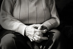 Closeup of an old woman's hands joined Royalty Free Stock Photography