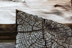 Closeup of old wood timbers notched together on building exterio Stock Image
