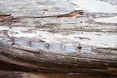 Closeup of Old Wooden Boat Side Planks Royalty Free Stock Images