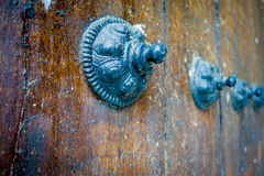 Closeup of an old wooden door with timeless Royalty Free Stock Image
