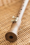 Closeup of old wooden flute Stock Photos