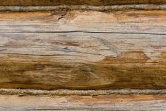 Closeup of an old wooden wall made of logs royalty free stock photography