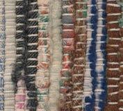 Closeup old woven rag rug Stock Photography