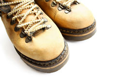 Closeup of old yellow boots Royalty Free Stock Photo