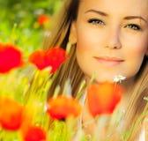 Closeup On Beautiful Woman Face Royalty Free Stock Photography