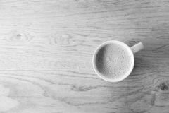 Closeup one  cup of hot Green Tea on clean wooden table in morni Stock Photos