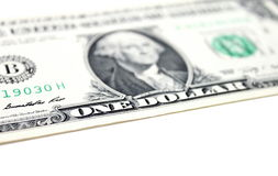 Closeup of one dollar isolate on white background. Royalty Free Stock Photography