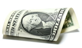 Closeup of one dollar isolate on white background. Stock Photography