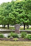 Saint Anne`s Shrine, St. Anne's Shrine, Isle La Motte, Grand Island County, Vermont, United States US. Lake Champlain. Closeup of one of the many statues stock image
