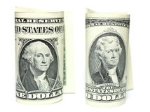 Closeup of one and two dollars isolate on white background. Stock Photo