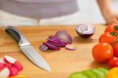 Closeup on onion slices on cutting board Stock Photography