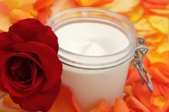 Closeup of open body cream Royalty Free Stock Images