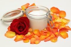 Closeup of open body cream Royalty Free Stock Photos