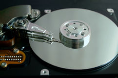 Closeup of an open computer hard drive Royalty Free Stock Photography
