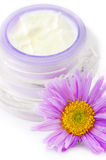 Closeup of open container of cosmetic cream Royalty Free Stock Photo