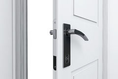 Closeup open door with door handle Stock Images