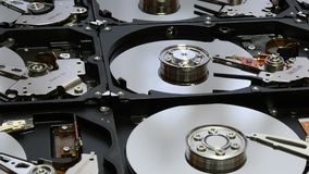 Closeup on open hard disk drives. 4K UHD Video. stock video