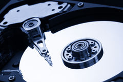 Closeup of open hard drive stock image