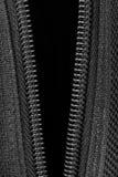 Closeup open zipper and canvas texture Stock Images