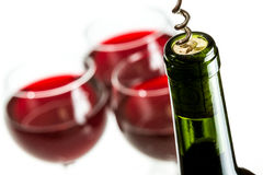 Closeup of opening wine bottle Stock Photo