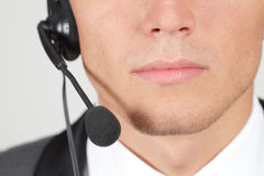 Closeup of operator's mouth Stock Photography