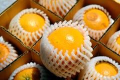 Closeup orange in box. Closeup Thai orange contain in the box ready to delivery Stock Photo
