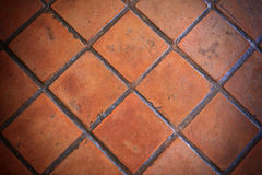 Closeup orange clay tile pavement Royalty Free Stock Images