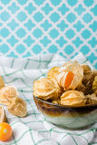 Closeup orange organic cape gooseberries Royalty Free Stock Photo