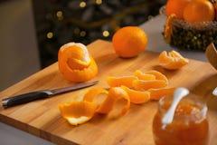 Closeup on orange peels on cutting board Stock Photos