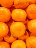 Closeup of oranges on a market . Royalty Free Stock Photos