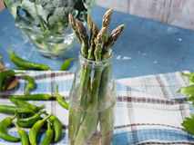 Closeup of organic asparagus in a bottle Stock Photo
