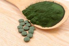 Closeup  organic spirulina algae Stock Images