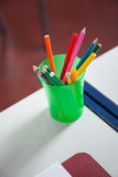 Closeup Of Organizer With Colorful Pencils Royalty Free Stock Photo