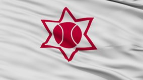 Closeup Otaru city flag, prefecture Hokkaido, Japan. Otaru close up flag, Hokkaido prefecture, realistic animation seamless loop - 10 seconds long vector illustration