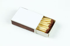 Closeup outdoor white boxes of matches. Isolated on white Royalty Free Stock Images