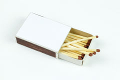 Closeup outdoor white boxes of matches. Scattered matches. Stock Images