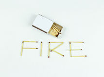 Closeup outdoor white boxes of matches. Scattered matches. Match Stock Image
