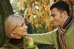 Closeup outdoors portrait of young couple Royalty Free Stock Photography