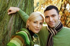 Closeup outdoors portrait of young couple Stock Photo