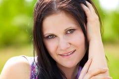 Closeup outdoors woman portrait Stock Image