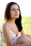 Closeup outdoors woman portrait Stock Photography