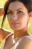 Closeup outdoors woman portrait Stock Photos