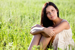 Closeup outdoors woman portrait Royalty Free Stock Photo