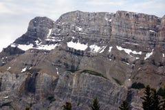 Closeup på den norr framsidan av monteringen Rundle i Banff Royaltyfri Fotografi